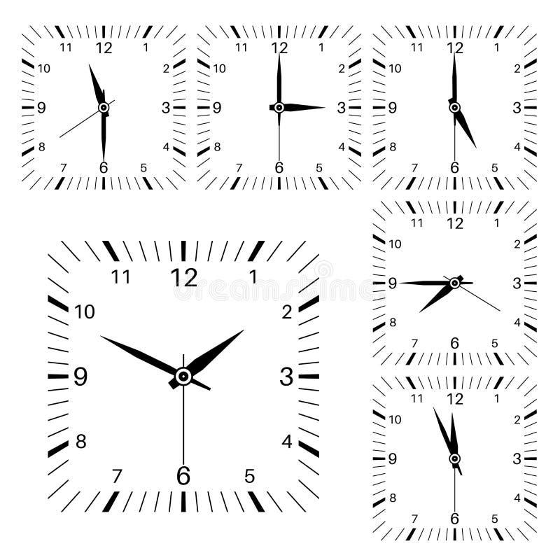 Borduhr Quadratischer geformter Uhrsatz lizenzfreie abbildung
