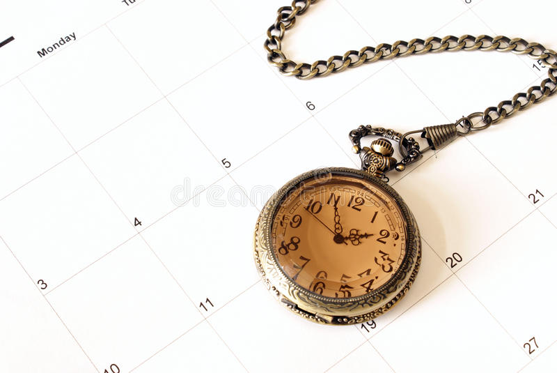 Borduhr und Kalender stockfoto