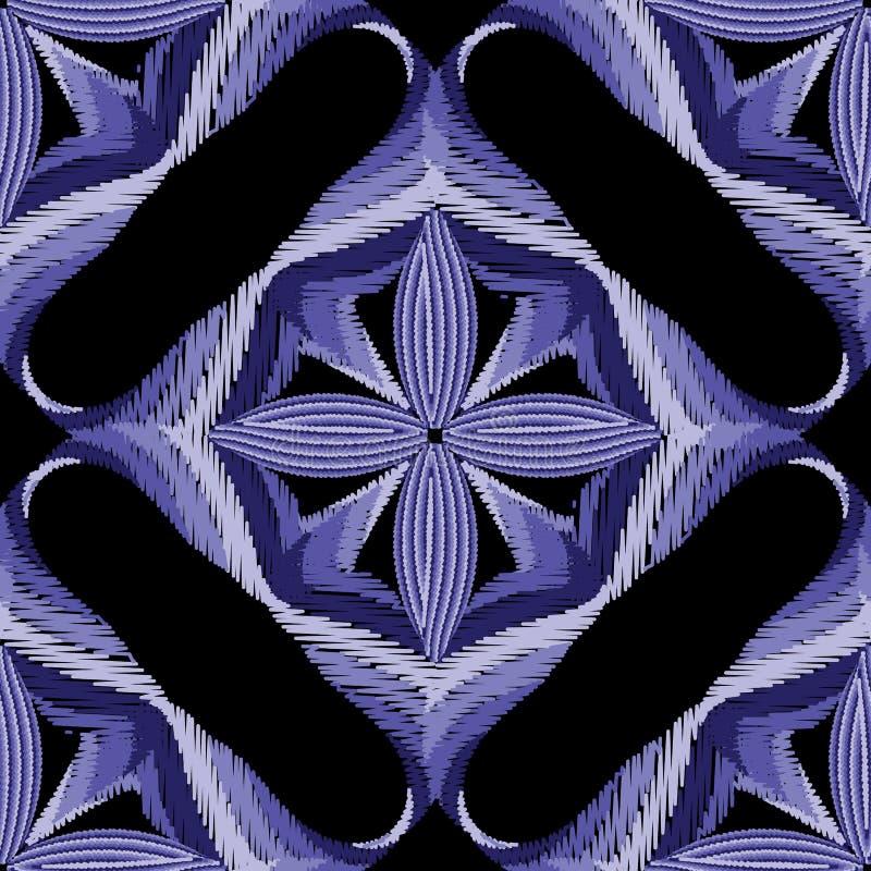 Borduurwerk abstract naadloos patroon Kleurrijke vectorgrunge-achtergrond Tapijtwerkornament Geweven ontwerp met blauw viooltje stock illustratie