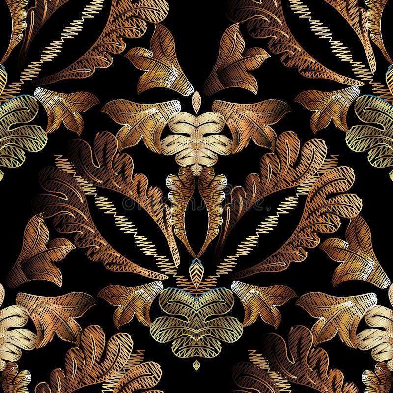 Borduurwerk barok vector naadloos patroon Gouden bloemengrunge D royalty-vrije illustratie