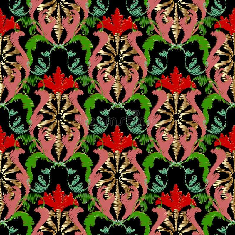 Borduurwerk barok vector naadloos patroon Kleurrijke bloemengrun vector illustratie
