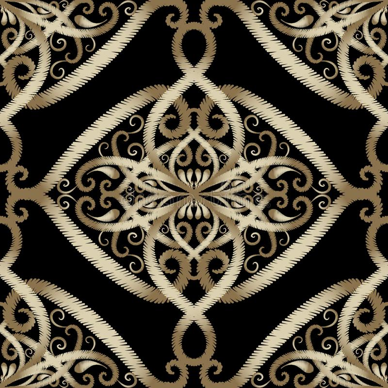 Borduurwerk bloemen vector naadloos patroon Arabische stijl grunge P stock illustratie