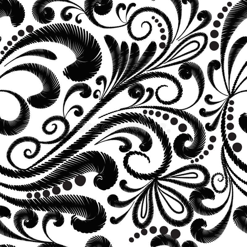 Borduurwerk bloemen vector naadloos patroon Etnische stijl grunge P vector illustratie