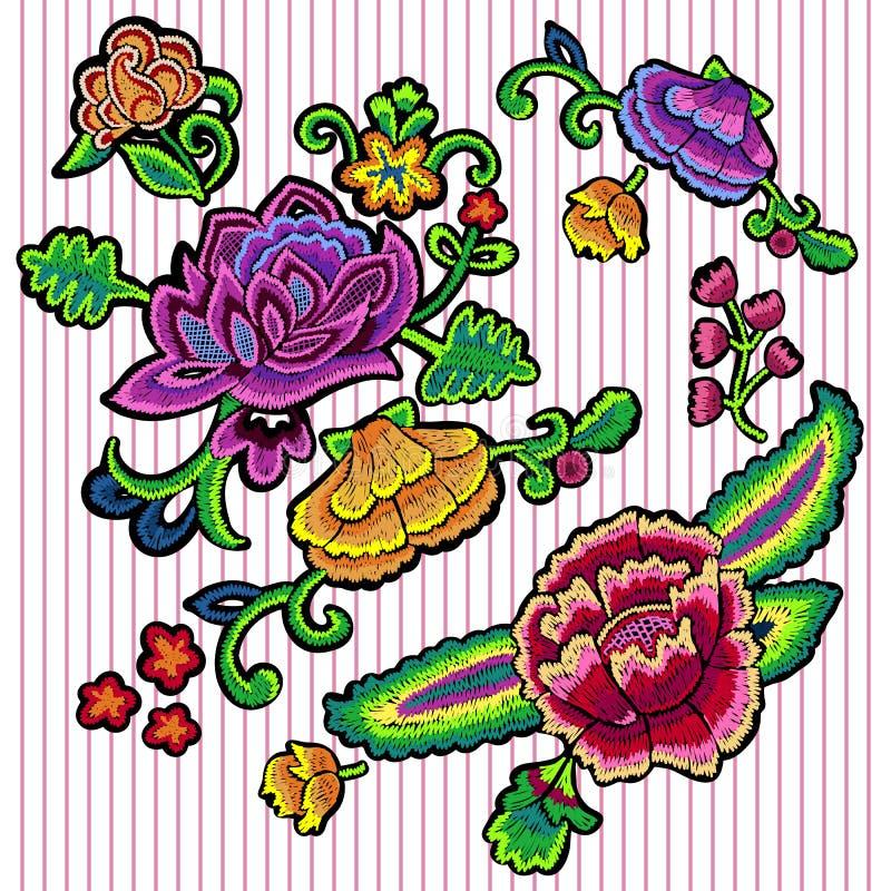 Borduurwerk bloemenflarden met kleurrijke rozen vector illustratie