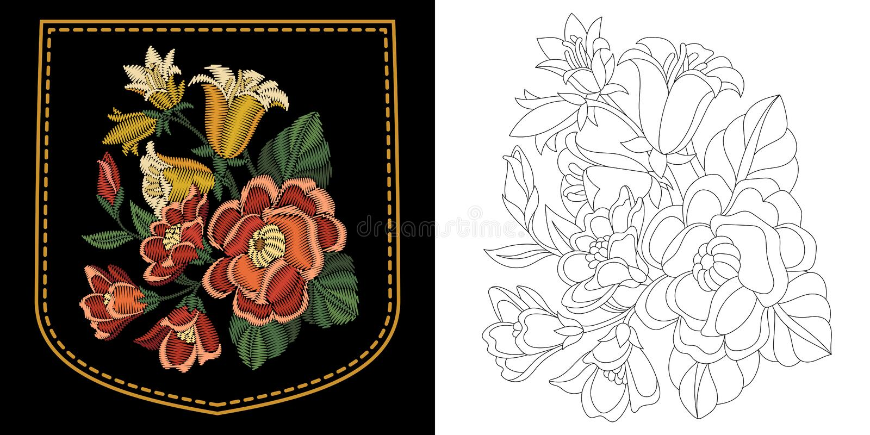Borduurwerk bloemenontwerp stock illustratie