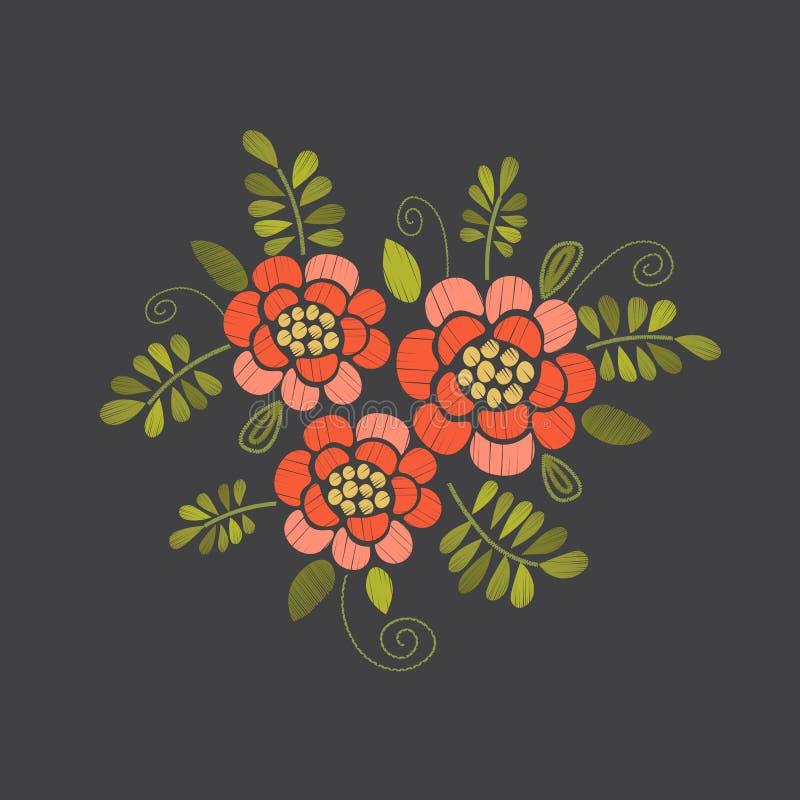 Borduurwerk bloemenontwerp royalty-vrije illustratie
