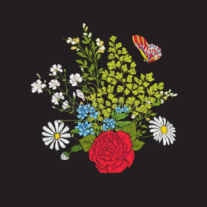 borduurwerk Boeket met rozen en madeliefjes vector illustratie