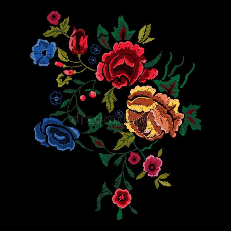 Borduurwerk botanisch volkspatroon met rode en blauwe rozen vector illustratie