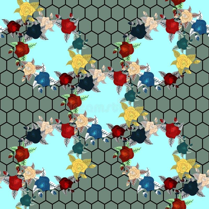 Borduurwerk etnisch naadloos patroon met rozen en fantasiebloemen  stock illustratie