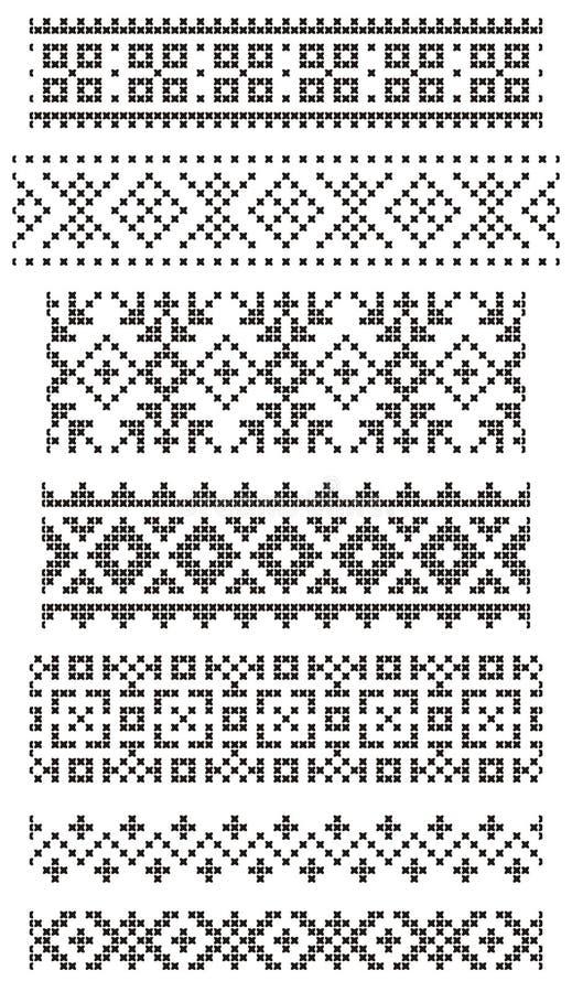 Borduurwerk, grenzen stock illustratie