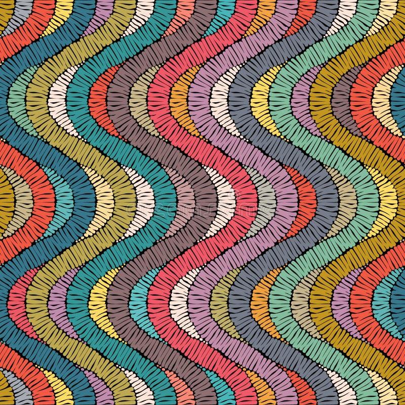 Borduurwerk of het gekleurde de textuur naadloos van het stoffenpatroon herhalen handmade Etnische en stammenmotieven Druk in de  royalty-vrije illustratie