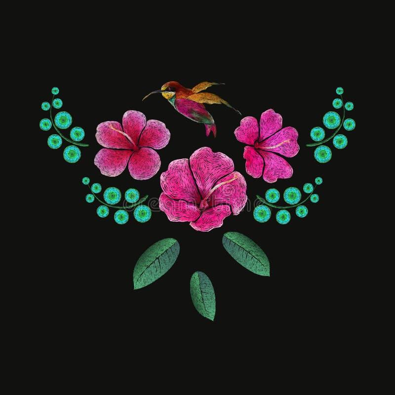 Borduurwerk imitatie tropisch bloemenpatroon Halslijnontwerp Het vectorornament van de de steekmanier van het illustratiesatijn stock illustratie