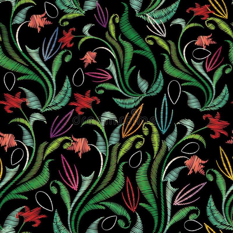 Borduurwerk kleurrijk bloemen naadloos patroon Tapijtwerk vectorbac stock illustratie