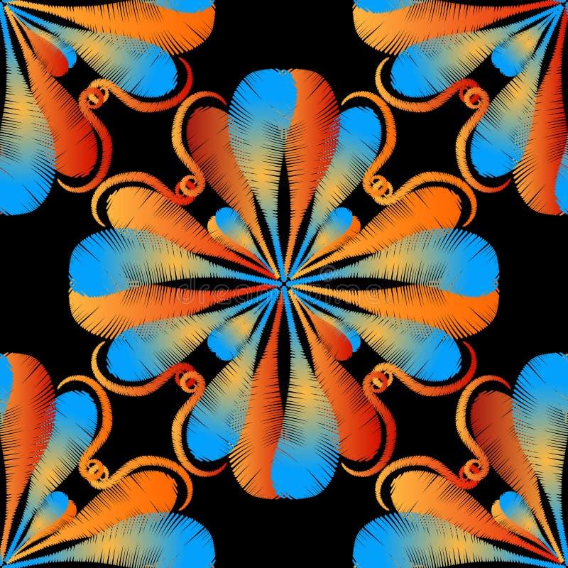 Borduurwerk kleurrijk bloemen naadloos patroon Vector sier grungy achtergrond Geweven bloemen etnisch ornament met tapijtwerk stock illustratie