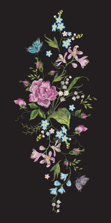 Borduurwerk kleurrijk verticaal bloemenpatroon met rozen en lilie vector illustratie