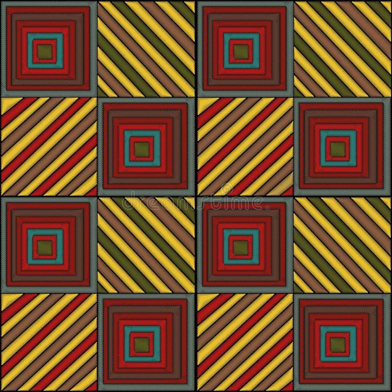 Borduurwerk - naadloos ornament Gekleurde geometrische vormenvierkanten en lijnen op een zwarte achtergrond handmade etnisch royalty-vrije illustratie