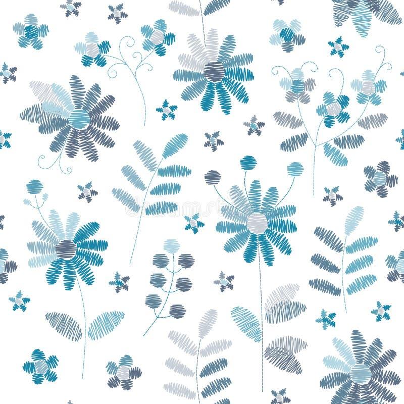 Borduurwerk naadloos patroon met blauwe bloemen op witte achtergrond Modieus ontwerp voor stof, textiel, verpakkend document, dru royalty-vrije illustratie