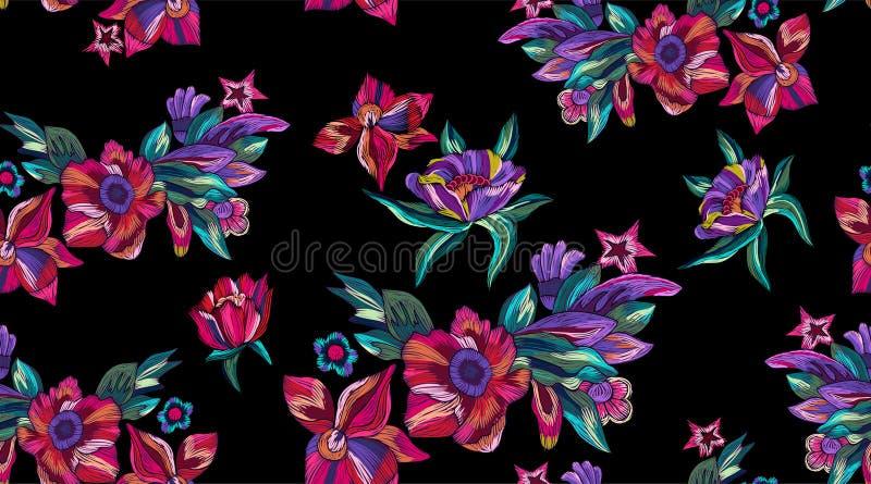 Borduurwerk naadloos patroon met moderne heldere bloemen royalty-vrije illustratie
