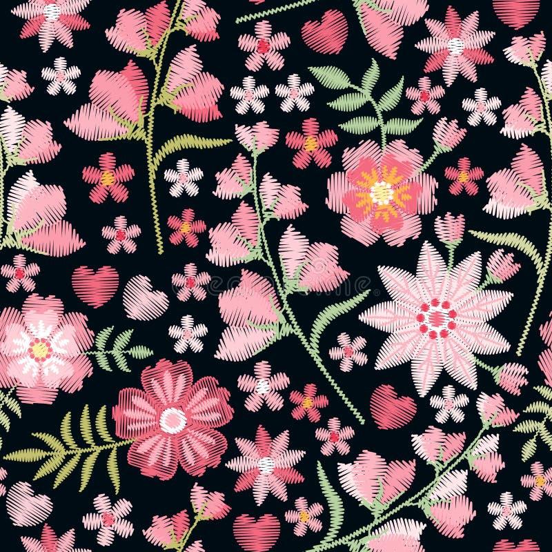 Borduurwerk naadloos patroon met mooie roze bloemen Manierdruk met bellflowers Vector geborduurde illustratie vector illustratie