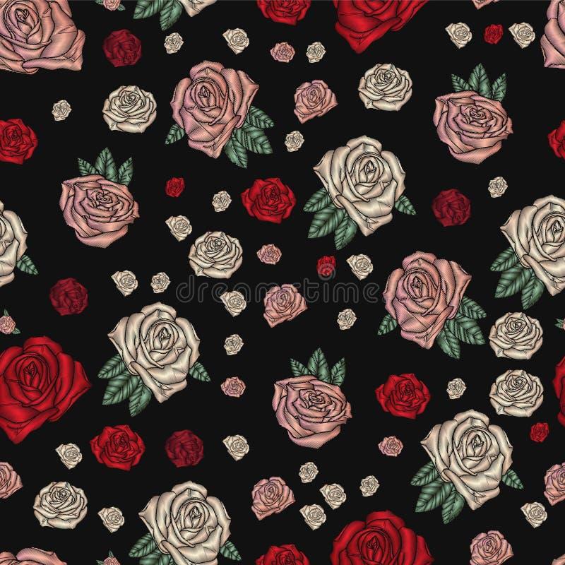 Borduurwerk naadloos patroon met rozen vector illustratie