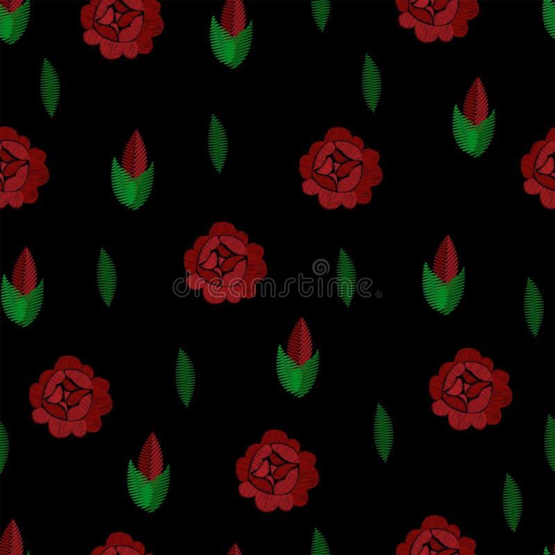 borduurwerk Naadloos patroon Vector Het herhalen van achtergrond Rode rozen op zwarte vector illustratie