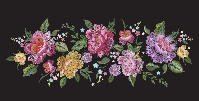 Borduurwerk traditioneel bloemenpatroon met rozen stock illustratie