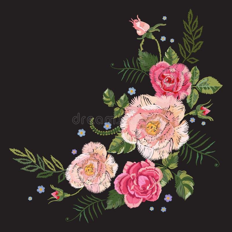 Borduurwerk traditioneel botanisch patroon met roze rozen en voor royalty-vrije illustratie