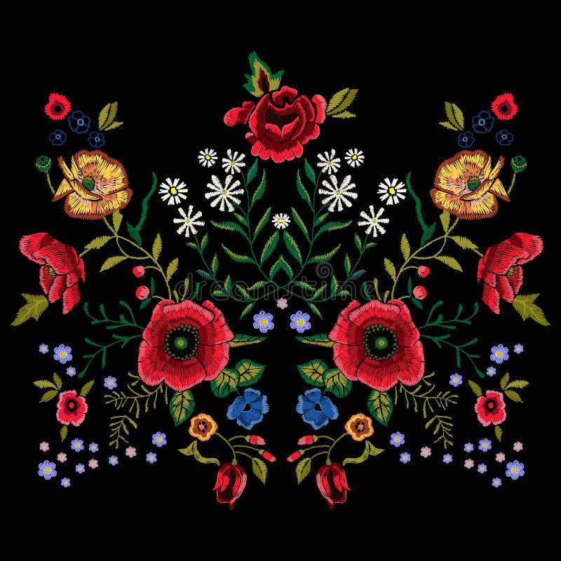 Borduurwerk traditioneel patroon met rode papavers en rozen royalty-vrije illustratie