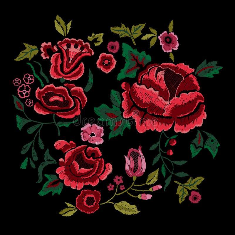 Borduurwerk traditioneel volkspatroon met rode rozen royalty-vrije illustratie