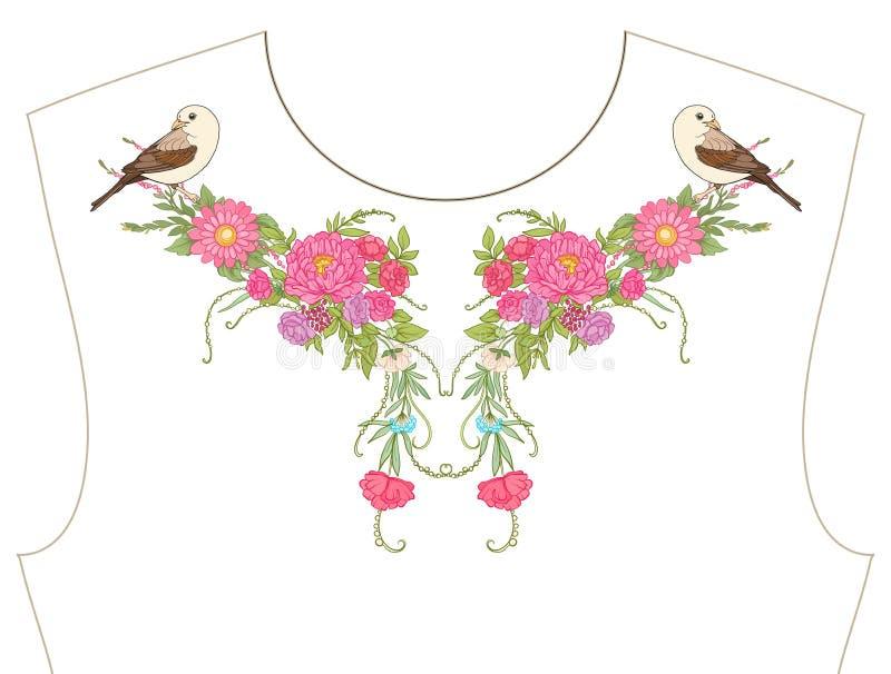 Borduurwerk voor halslijn, kraag voor T-shirt, blouse, overhemd Patt royalty-vrije illustratie