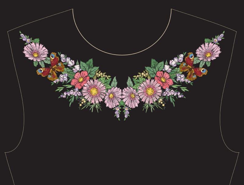 Borduurwerk voor halslijn, kraag voor T-shirt, blouse, overhemd stock illustratie