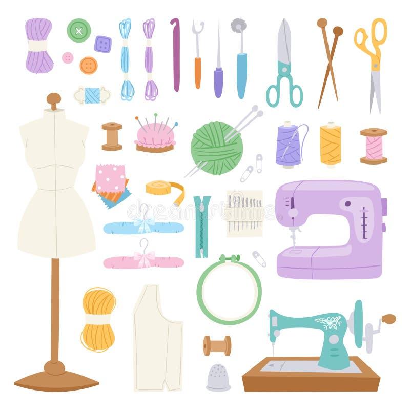 Borduurwerkfancy-work de fijne toebehoren die van de handwerkhobby de vectorillustratie van het naaldmateriaal naaien stock illustratie