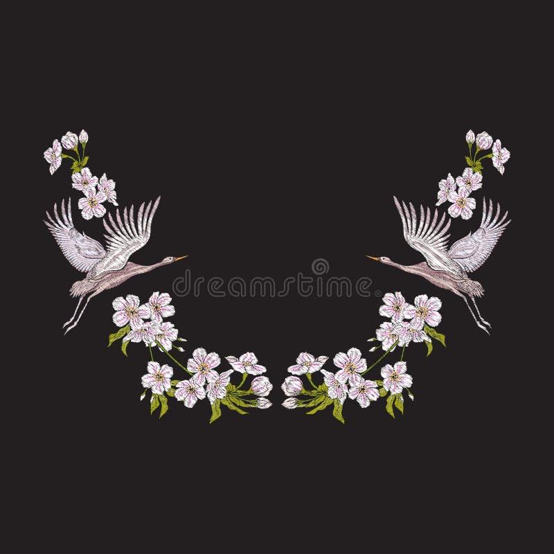 Borduurwerkhalslijn met bloemen en kraan op zwarte achtergrond stock illustratie