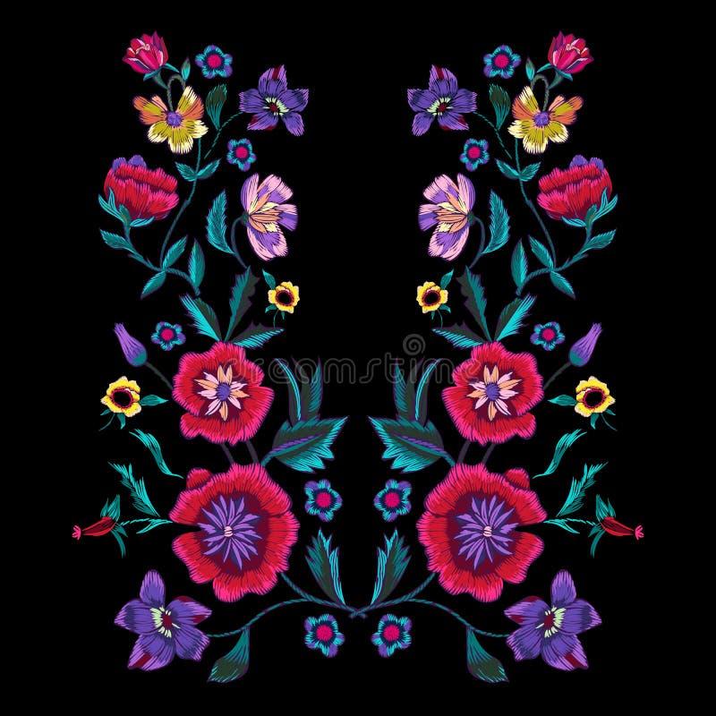 Borduurwerkpatroon met papavers en weidebloemen royalty-vrije illustratie