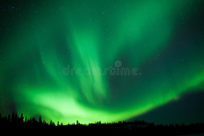 Boreal forest taiga Northern Lights substorm swirl stock photo