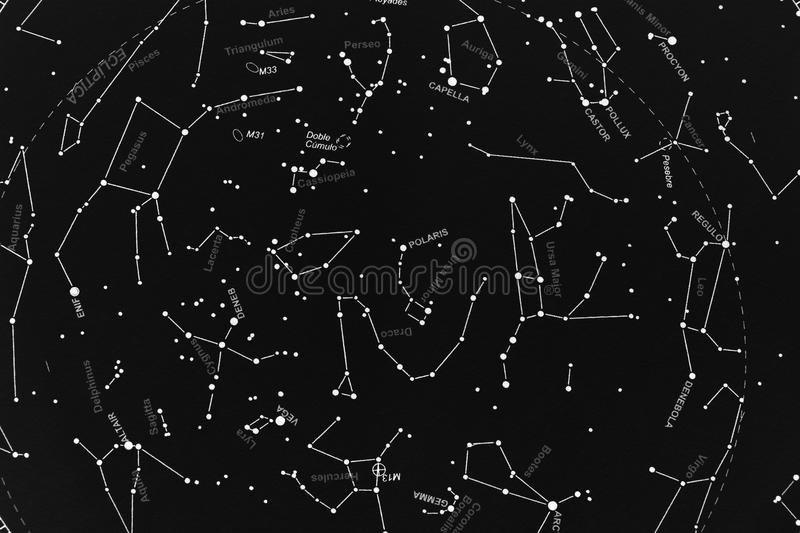 Boreal skymap. Map of stars, focused on boreal constellations area stock image