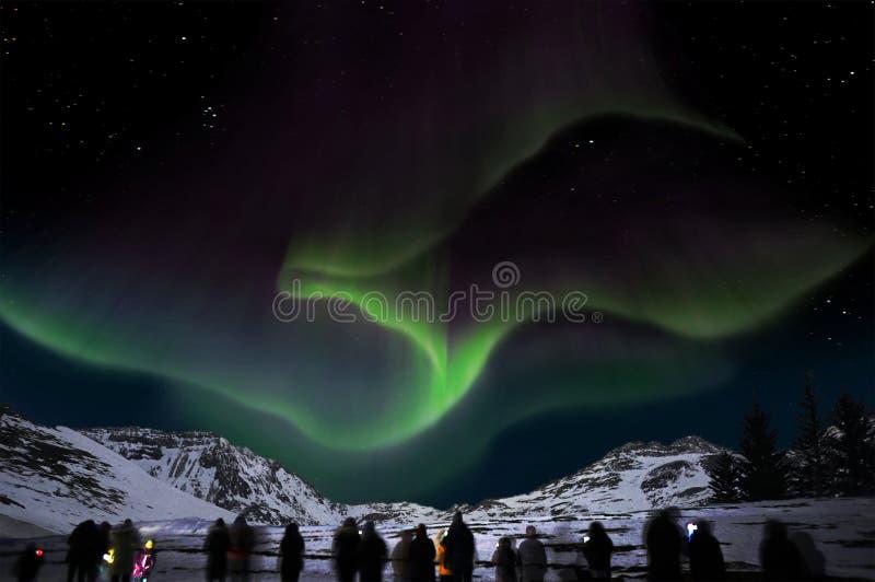 Borealis da Aurora em Islândia fotos de stock