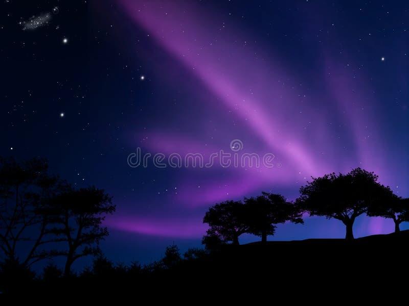 Borealis de la aurora stock de ilustración