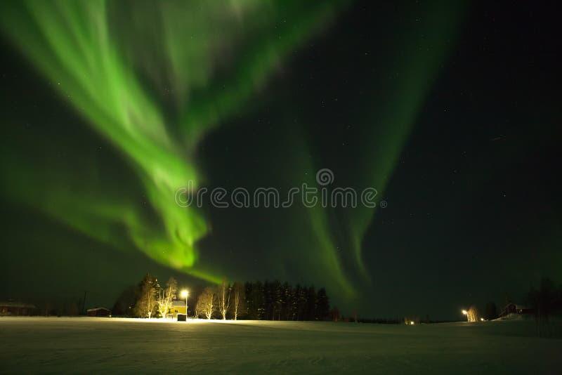 Borealis de la aurora o luces polares septentrionales imagen de archivo libre de regalías