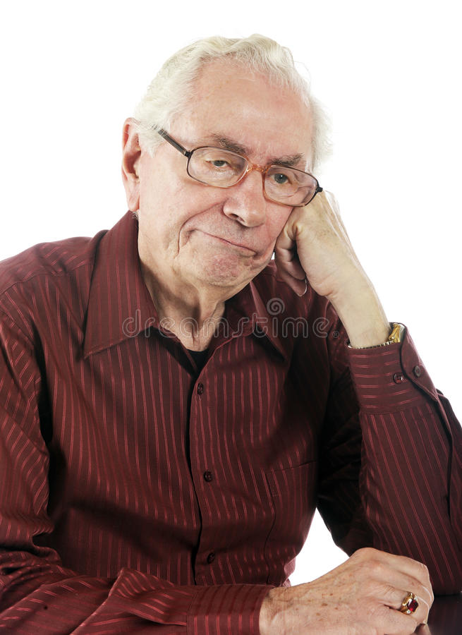 Bored!. Close-up of a bored old man royalty free stock image