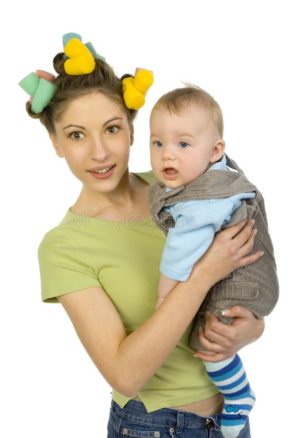 Bored baby with mom stock photos