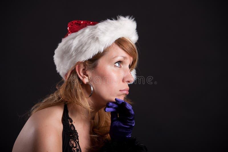 Bored bij de Kerstmispartij stock afbeelding
