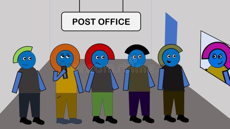 Bored bij het Postkantoor stock afbeeldingen