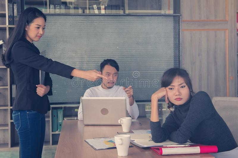 Bored business people and sleeping resting on workplace during w stock photos