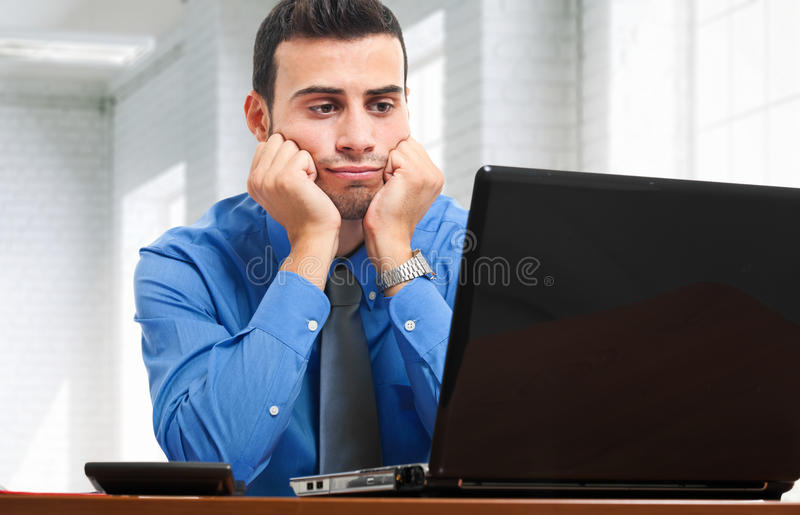 Bored businessman stock image