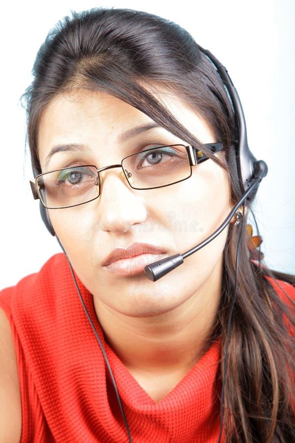 Bored call center executive stock photography
