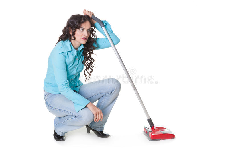 Bored of cleaning royalty free stock photos