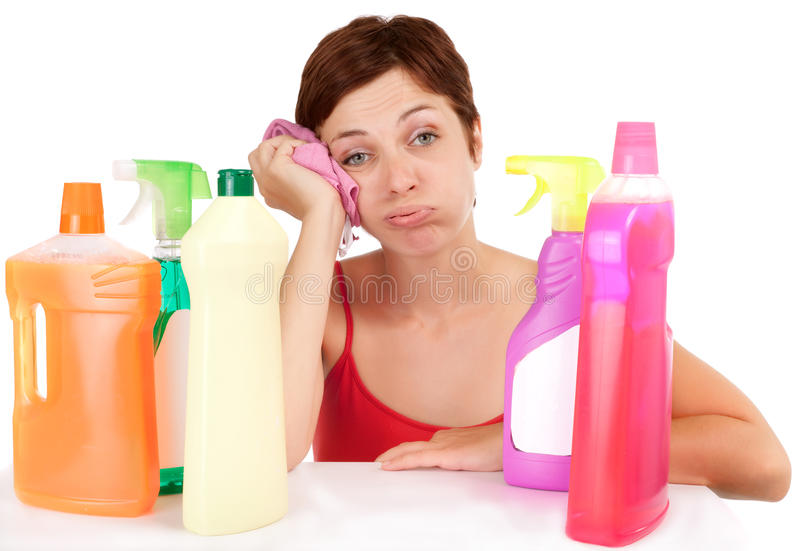 Download Bored Cleaning Woman Portrait Stock Image - Image of plastic, spray: 11207607