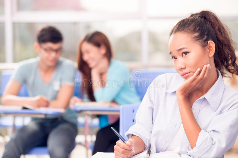 Bored college student royalty free stock images