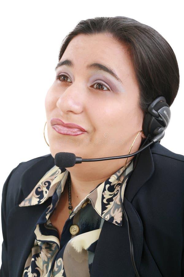 Bored customer service operator royalty free stock photography